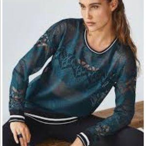 Fabletics Sophie Teal Black Trim Lace Pullover Top